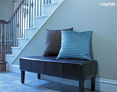 Bench with Pillows for Home Decor